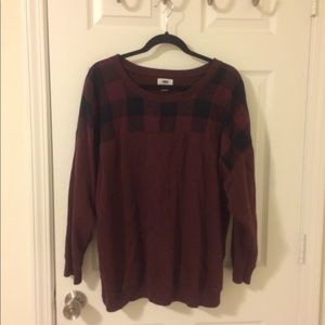 Old Navy 2X Maroon and Black Checker Sweater